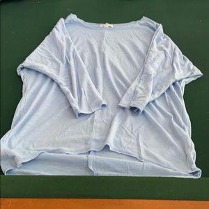 3/4 length high low blue t-shirt
